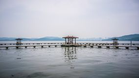Pavilion at Donghu east lake in Wuhan Hubei China Stock Image