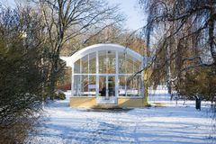 Pavilion of mineral water spring in winter - Frantiskovy Lazne Franzensbad - Czech Republic royalty free stock photography