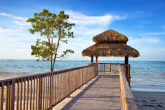 Pavilion in natural style on  beach. Stock Image