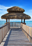 Pavilion in natural style on  beach. Royalty Free Stock Images