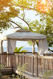Pavilion in natural style on a beach Royalty Free Stock Image
