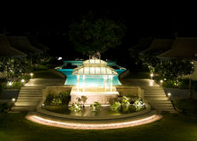 Pavilion near the pool. At night Stock Photography