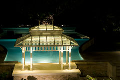 Pavilion near the pool. At night Royalty Free Stock Image