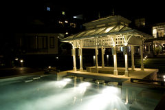 Pavilion near the pool. At night Royalty Free Stock Photo