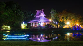 Pavilion at night In  Thailand Stock Image