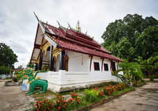 Pavilion old temple. Pavilion of temple With old wood in Laos Stock Photo