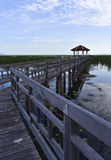 The pavilion and old wooden bridge path on lagoon Royalty Free Stock Photography