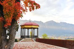 Pavilion overlooking the city at Das Tirol Panorama in Innsbruck city Royalty Free Stock Photos