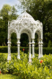 Pavilion in park. White arbor in green park Stock Images