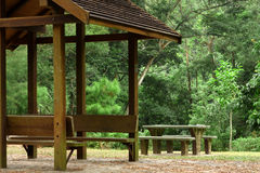 Pavilion and picnic table Royalty Free Stock Photography
