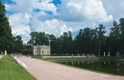 Pavilion by pond in Catherine Park, Tsarskoye Selo Royalty Free Stock Photography