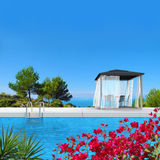 Pavilion, pool and bougainvillea. Fictitious 3D rendering showing a swimming pool with pavilion and fantsatic view to the sea Royalty Free Stock Images