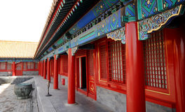 Pavilion with red columns(Forbidden City,Beijing) Royalty Free Stock Image