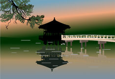Pavilion and reflection in pond illustration Stock Image