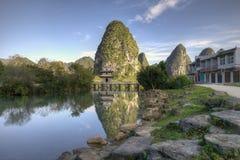 Pavilion and river. In Jingxi, Guangxi, China Stock Photos