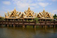 Pavilion on the river. Three thai style pavillion of the enlightened, Ancient City, Samutprakarn, Thailand Royalty Free Stock Photos