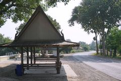Pavilion beside the road way Royalty Free Stock Image
