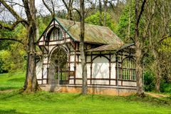 Pavilion of cold mineral water spring Rudolf - small west Bohemian spa town Marianske Lazne (Marienbad) - Czech Republic. Pavilion of Rudolf spring in Stock Photo
