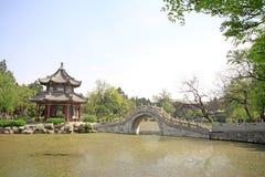 Pavilion, scenery beautiful pond, Chinese traditional architectu Stock Photos
