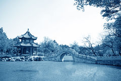 Pavilion, scenery beautiful pond, Chinese traditional architectu Royalty Free Stock Images