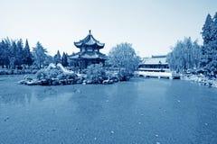 Pavilion, scenery beautiful pond, Chinese traditional architectu Royalty Free Stock Photos