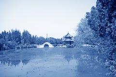 Pavilion, scenery beautiful pond, Chinese traditional architectu Royalty Free Stock Photo