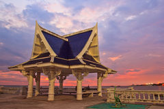 Pavilion at the seaside in the sunset. Pavilion at the seaside in Bang Saen, Thailand Stock Images