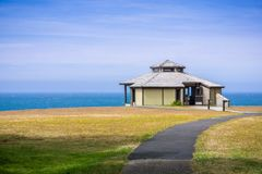 Pavilion on the shoreline of the Pacific Ocean. Sunny summer day, Shores Acres State Park, Coos Bay, Oregon royalty free stock photo