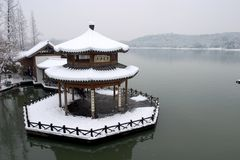Pavilion in the snow Stock Photo