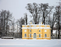 Pavilion in the snow-covered park Stock Image