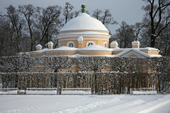 Pavilion in the snow-covered park Royalty Free Stock Photos