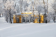 Pavilion in the snow-covered park at Tsarskoye Selo Pushkin Royalty Free Stock Images