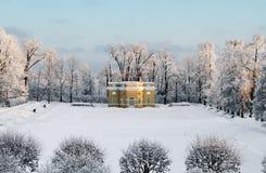 Pavilion in the snow-covered park at Tsarskoye Selo Royalty Free Stock Images