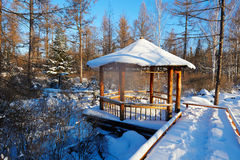 The pavilion with snow covered Stock Photography