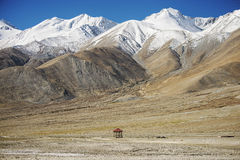 Pavilion and snow mountain range at Pangong Lake Leh Ladakh ,India Royalty Free Stock Photo