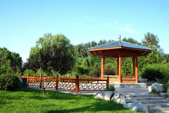 The pavilion and stone walkway Stock Images