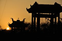 Pavilion in sunset Royalty Free Stock Photo