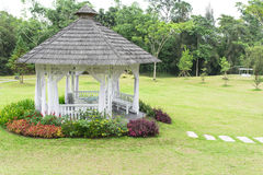 Pavilion. Surrounded by colorful plant and flower in the garden Stock Photos
