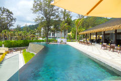 Pavilion and swimming pool in luxury resort Royalty Free Stock Image