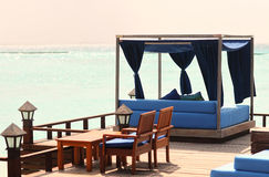 Pavilion and swimming pool in luxury resort maldive Royalty Free Stock Photography