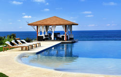 Pavilion and swimming pool in resort Stock Image