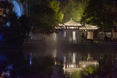 Pavilion and terrace-Ruzi Pavilion Park night. Kiosks in the city of Nanchang province Xihu District in Jiangxi, West Lake, named for the memorial of the Eastern Royalty Free Stock Photo