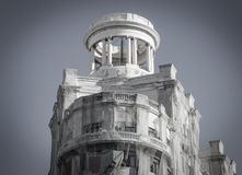 Pavilion on top of building. Classic round pavilion on top of a demolished building in Barcelona stock photo