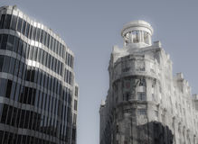 Pavilion on top of building. Classic round pavilion on top of a demolished building side by side with a modern building in Barcelona royalty free stock photos