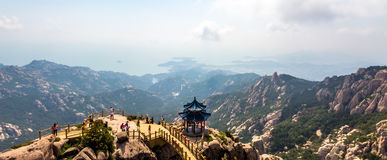 Pavilion on the top of Jufeng trail, Laoshan Mountain, Qingdao. China. Jufeng is the highest trail in Laoshan, where visitors can enjoy beautiful aerial views Stock Image