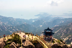 Pavilion on the top of Jufeng trail, Laoshan Mountain, Qingdao, China Royalty Free Stock Photos