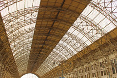 Pavilion train station. The roof of the pavilion of the Kiev railway station in Moscow Royalty Free Stock Photos