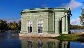 Pavilion of Venus in Gatchina park. On the shores of White Lake Stock Photo
