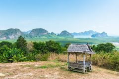 Pavilion at viewpoint of samed nang chee, phang nga, thailand. Pavilion made from bamboo and straw at viewpoint of samed nang chee, phang nga province, Thailand royalty free stock images