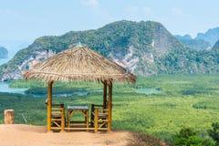 Pavilion at viewpoint of samed nang chee, phang nga, thailand. Pavilion made from bamboo and straw at viewpoint of samed nang chee, phang nga province, Thailand royalty free stock photo